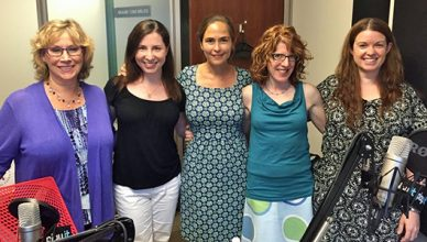 Andrea Smith, Rebecca Levey, Elisa Zuritsky, Julie Rottenberg, Amy Oztan in the Parenting Bytes studio - featured