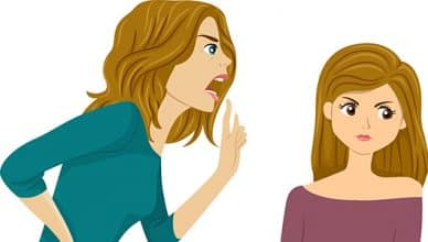 Illustration of a Mother Nagging on Her Daughter