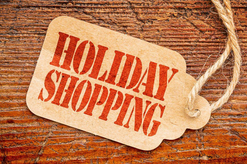 "shopping tag that says ""holiday shopping"""