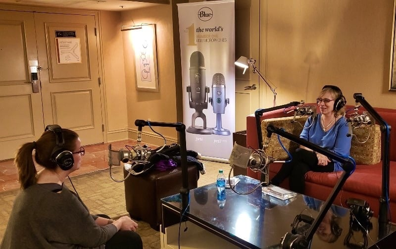 Amy Oztan and Andrea Smith in the Blue Mix Podcasting Suite at CES 2019