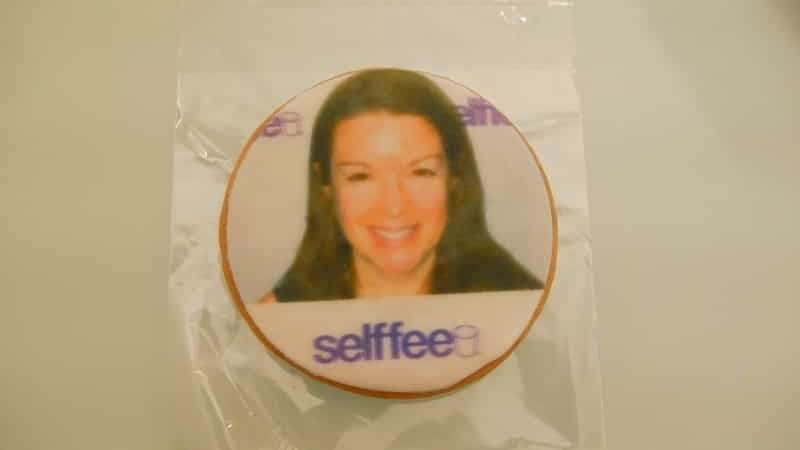 cookie with Amy Oztan's face on it